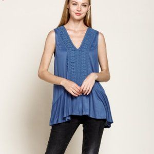 NWT French Blue Crochet Tunic Blouse Mittoshop